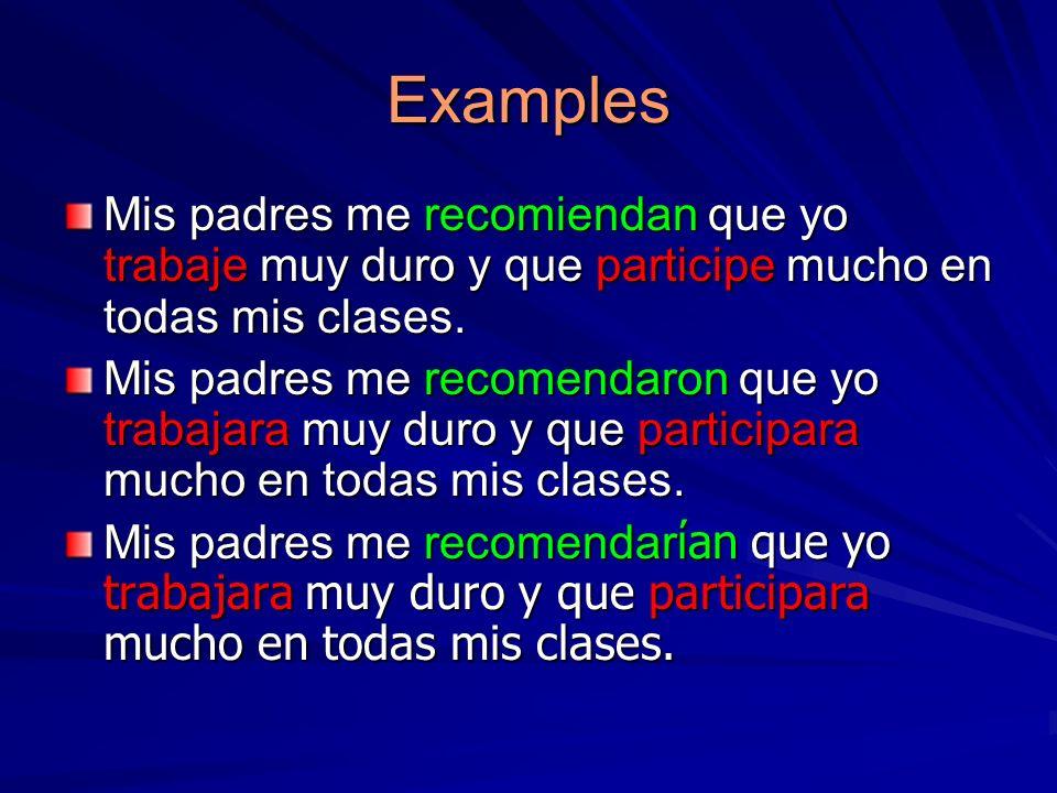 Examples Mis padres me recomiendan que yo trabaje muy duro y que participe mucho en todas mis clases.