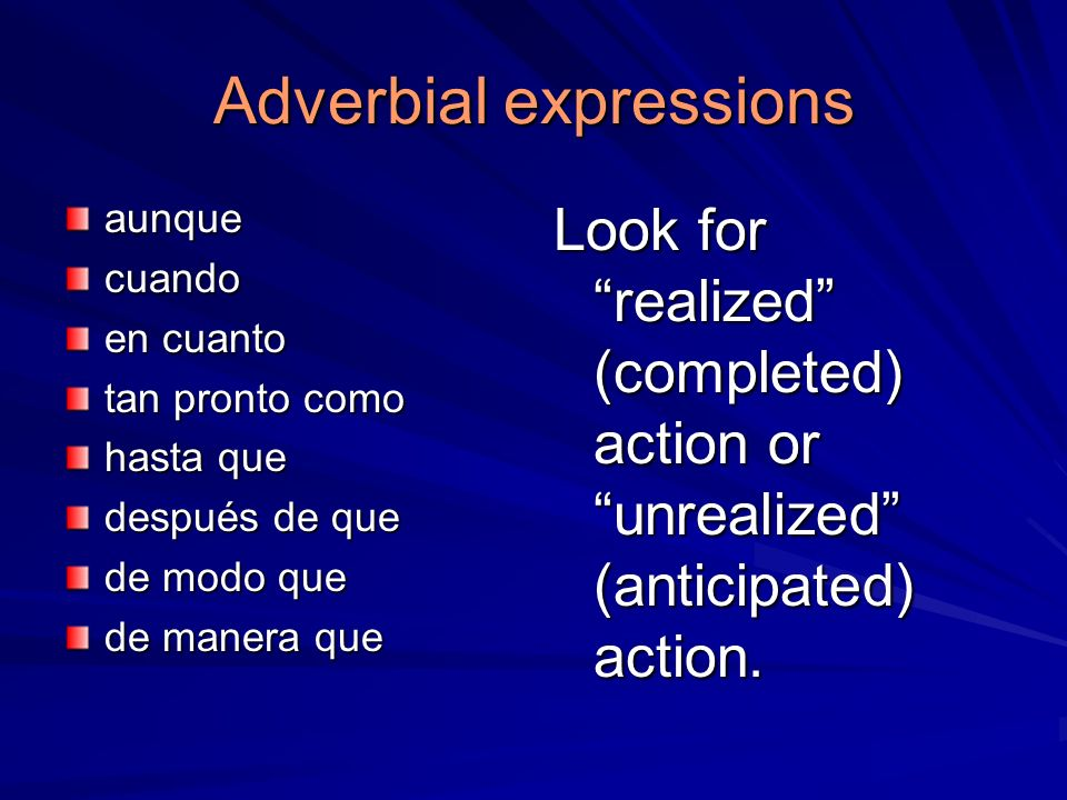 Adverbial expressions