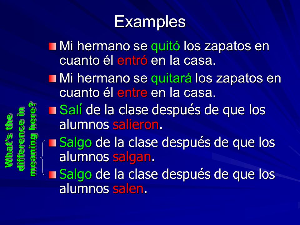 Examples meaning here difference in What s the