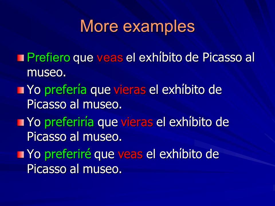 More examples Prefiero que veas el exhίbito de Picasso al museo.