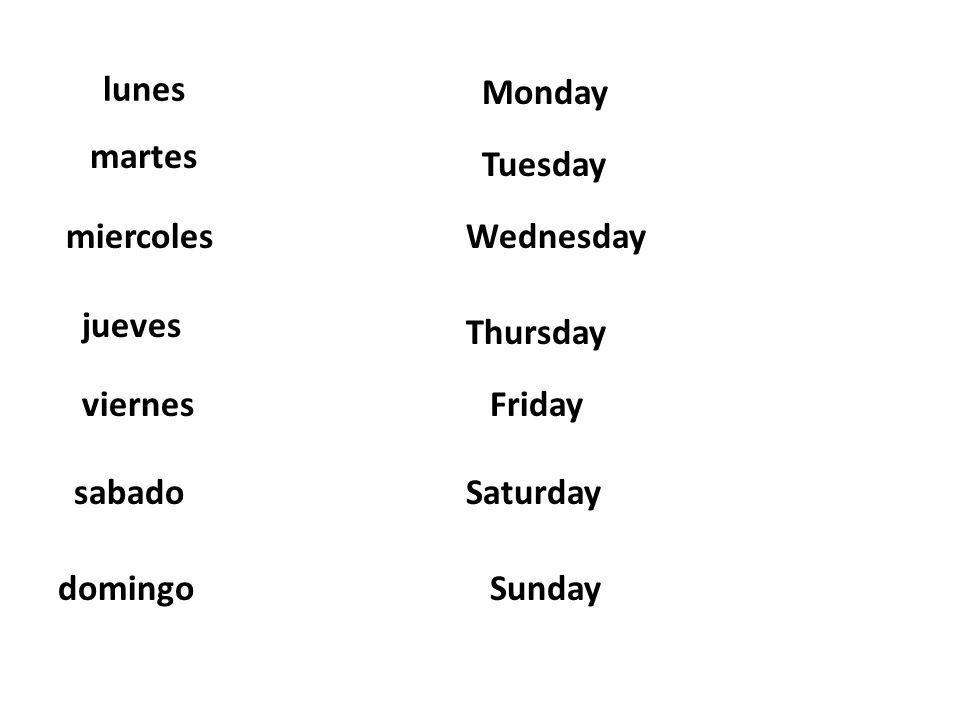 lunes Monday. martes. Tuesday. miercoles. Wednesday. jueves. Thursday. viernes. Friday. sabado.
