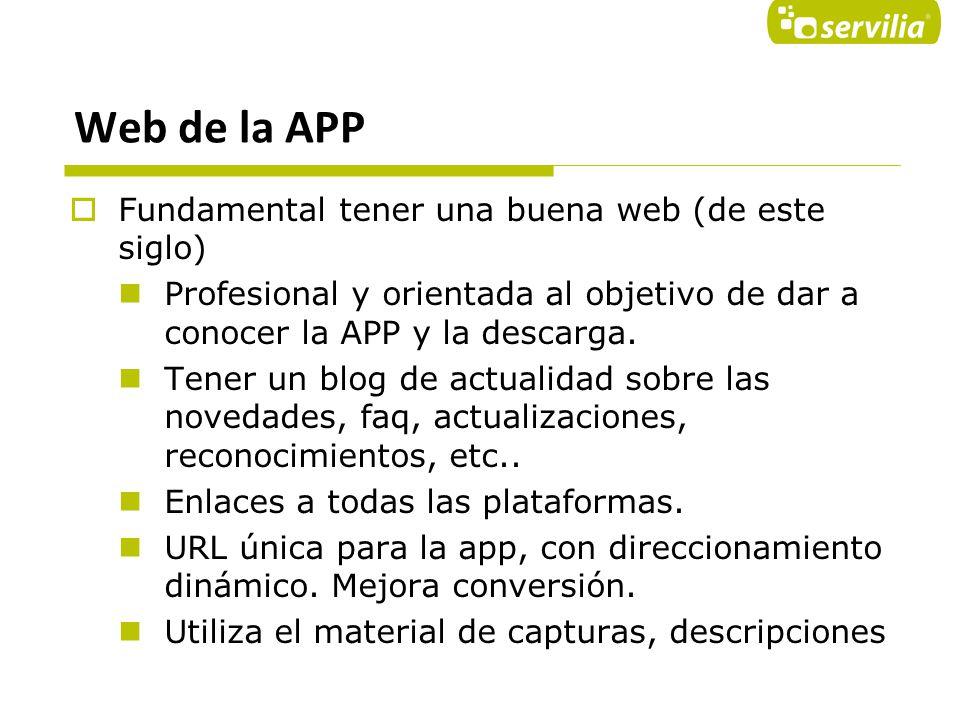 Web de la APP Fundamental tener una buena web (de este siglo)