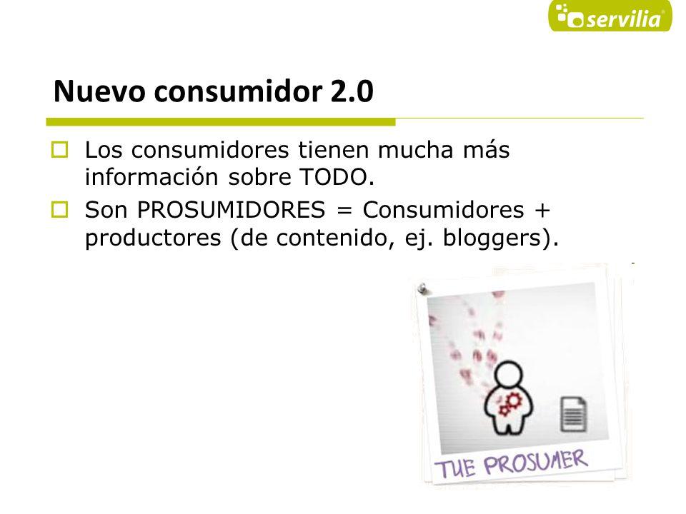 Nuevo consumidor 2.0 Los consumidores tienen mucha más información sobre TODO.