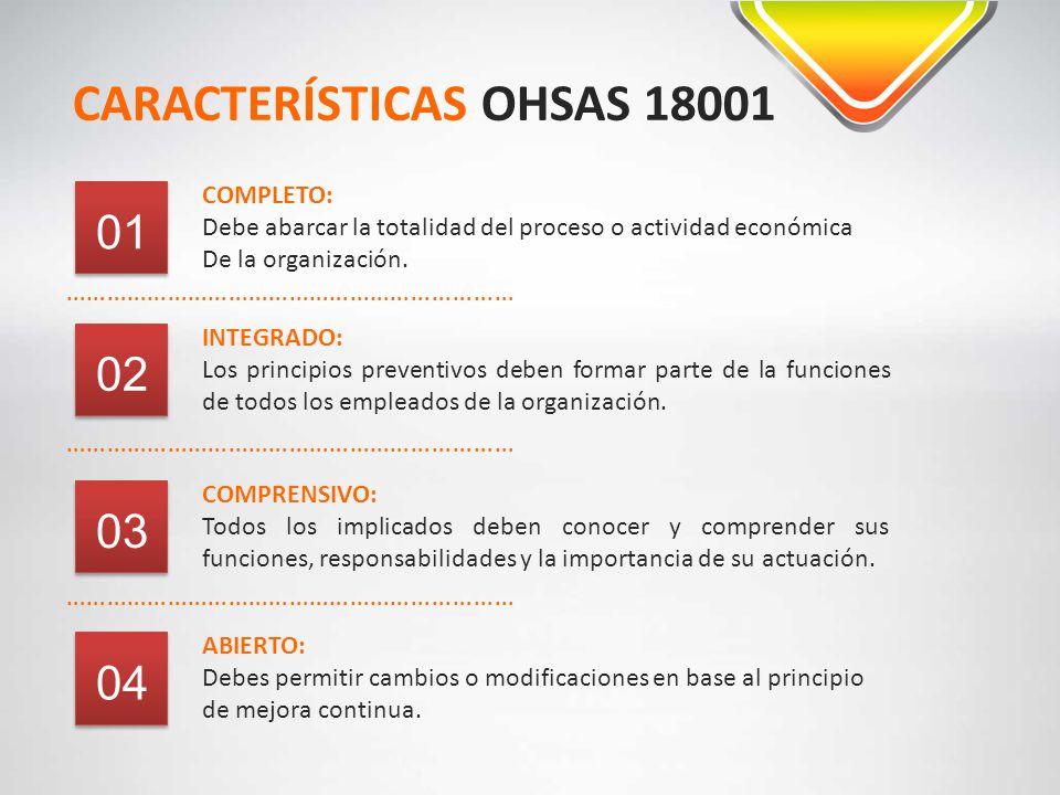 CARACTERÍSTICAS OHSAS 18001