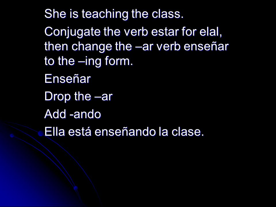 She is teaching the class.