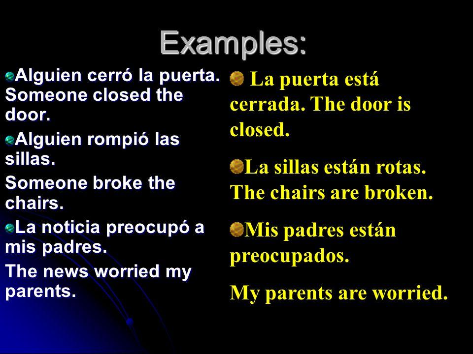 Examples: La puerta está cerrada. The door is closed.