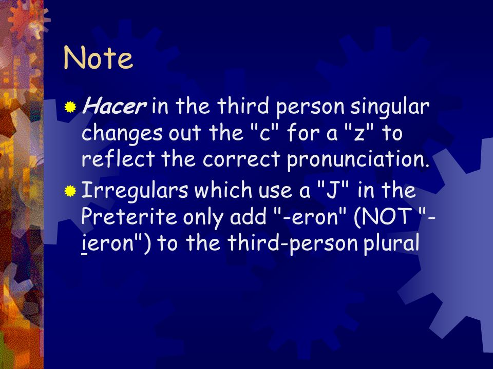 NoteHacer in the third person singular changes out the c for a z to reflect the correct pronunciation.