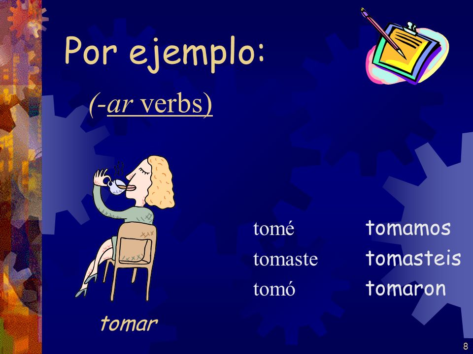 Por ejemplo: (-ar verbs) tomar tomé tomaste tomó tomamos tomasteis