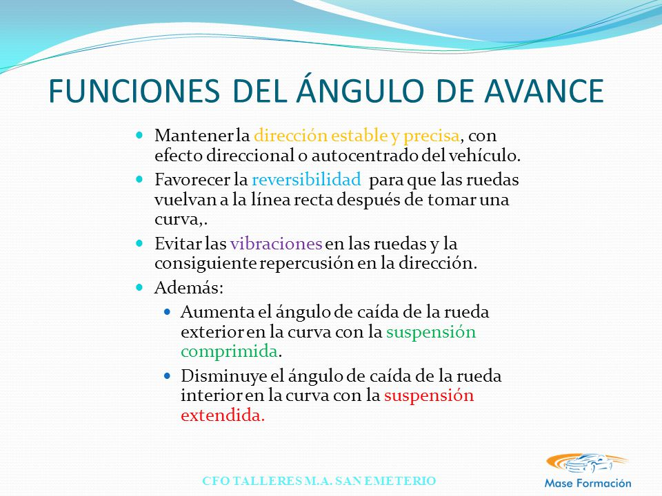 FUNCIONES DEL ÁNGULO DE AVANCE