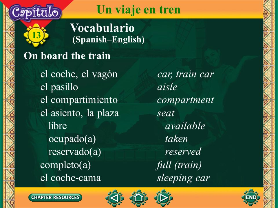 Un viaje en tren Vocabulario On board the train el coche, el vagón