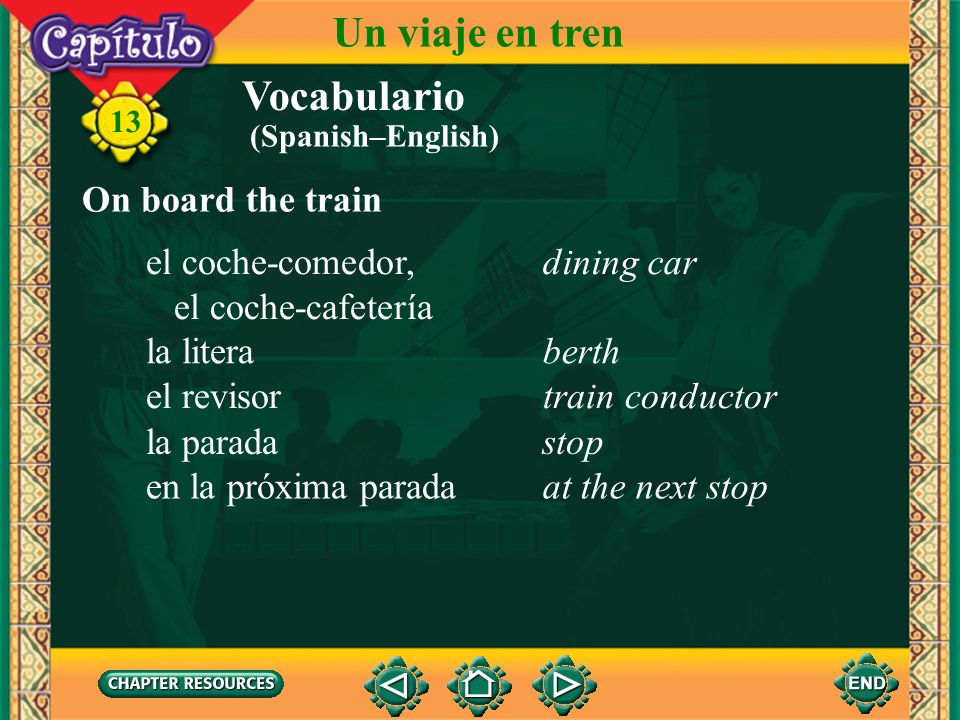 Un viaje en tren Vocabulario On board the train el coche-comedor,