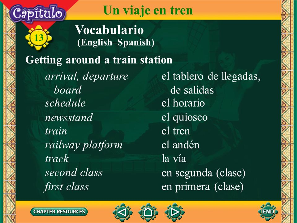 Un viaje en tren Vocabulario Getting around a train station
