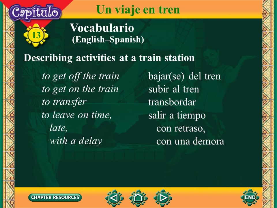 Un viaje en tren Vocabulario Describing activities at a train station
