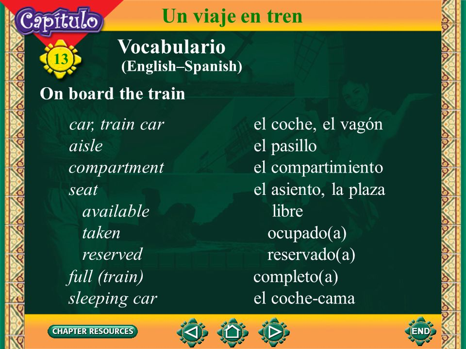 Un viaje en tren Vocabulario On board the train car, train car
