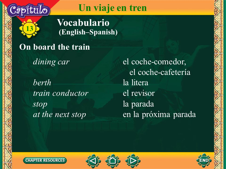 Un viaje en tren Vocabulario On board the train dining car