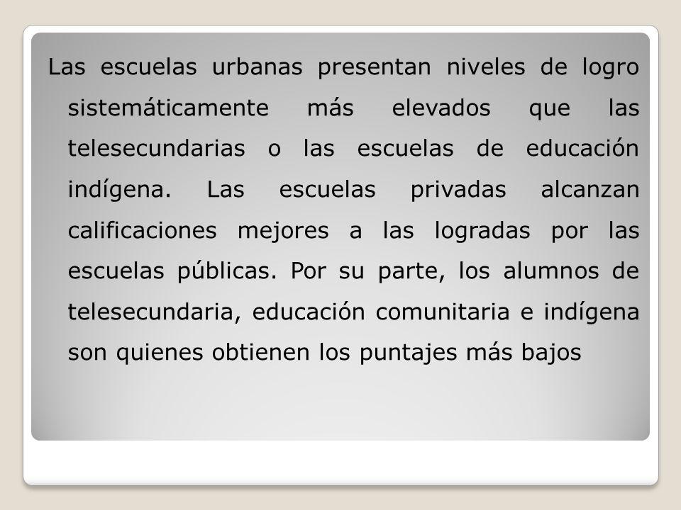 Las escuelas urbanas presentan niveles de logro sistemáticamente más elevados que las telesecundarias o las escuelas de educación indígena.