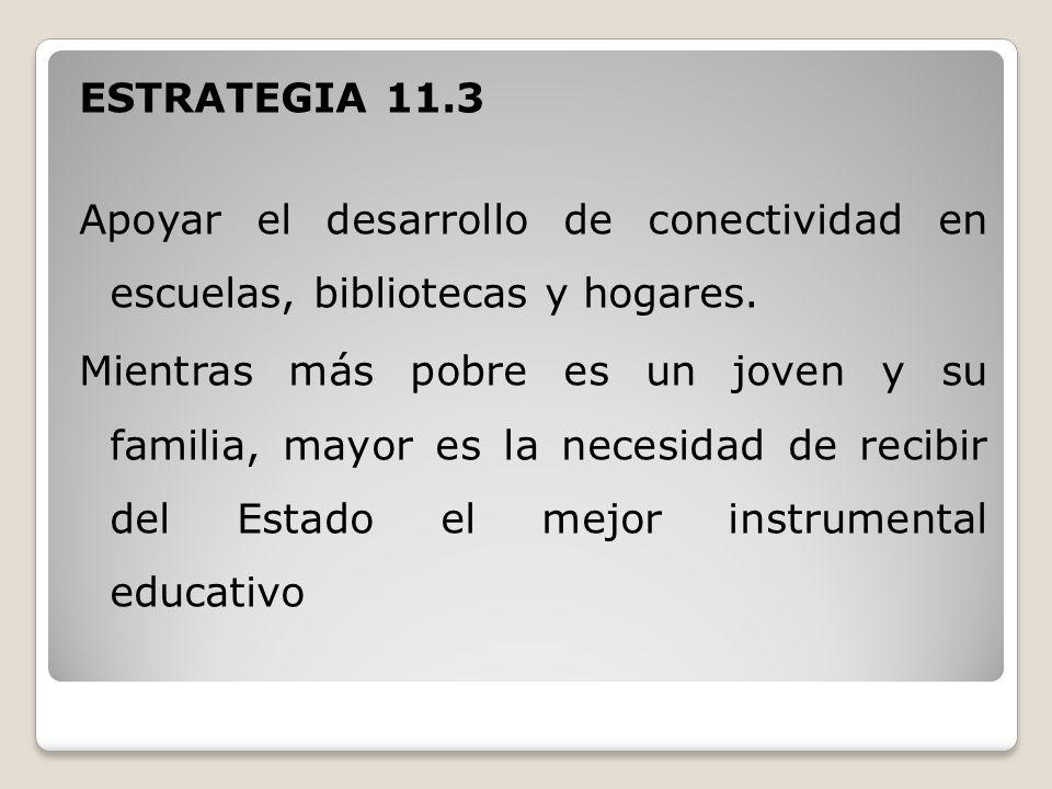 ESTRATEGIA 11.3 Apoyar el desarrollo de conectividad en escuelas, bibliotecas y hogares.