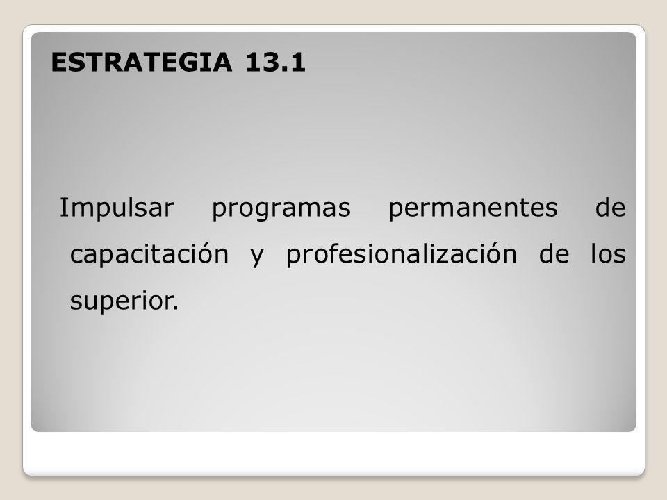 ESTRATEGIA 13.1 Impulsar programas permanentes de capacitación y profesionalización de los superior.