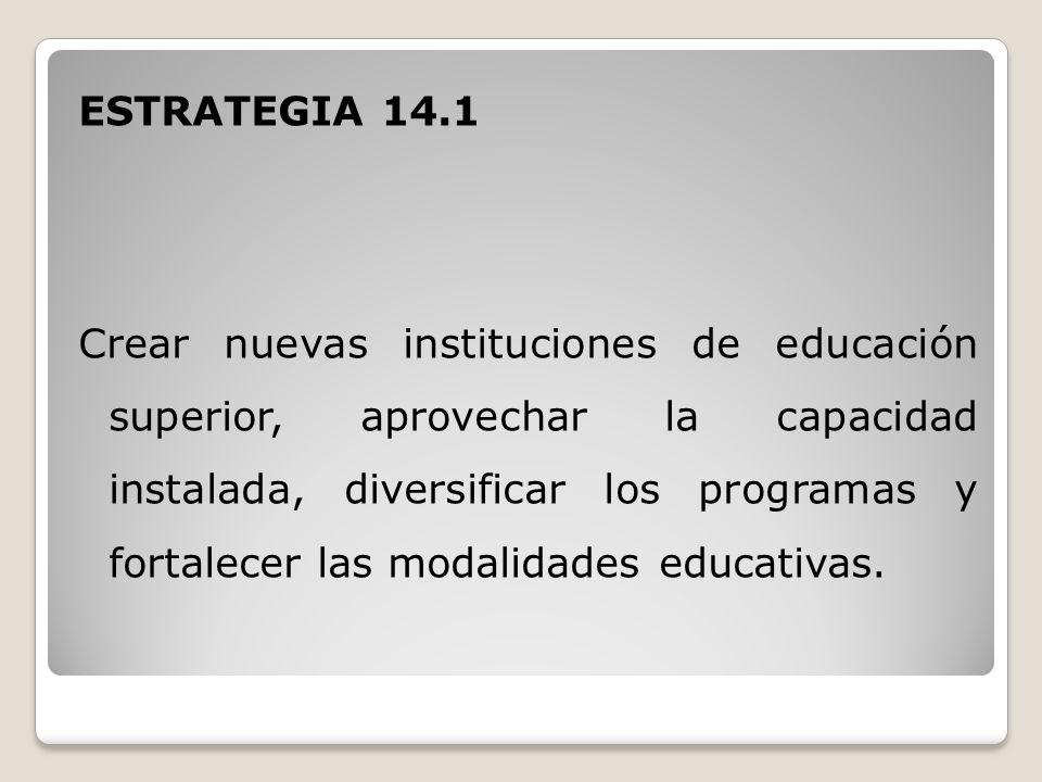 ESTRATEGIA 14.1 Crear nuevas instituciones de educación superior, aprovechar la capacidad instalada, diversificar los programas y fortalecer las modalidades educativas.