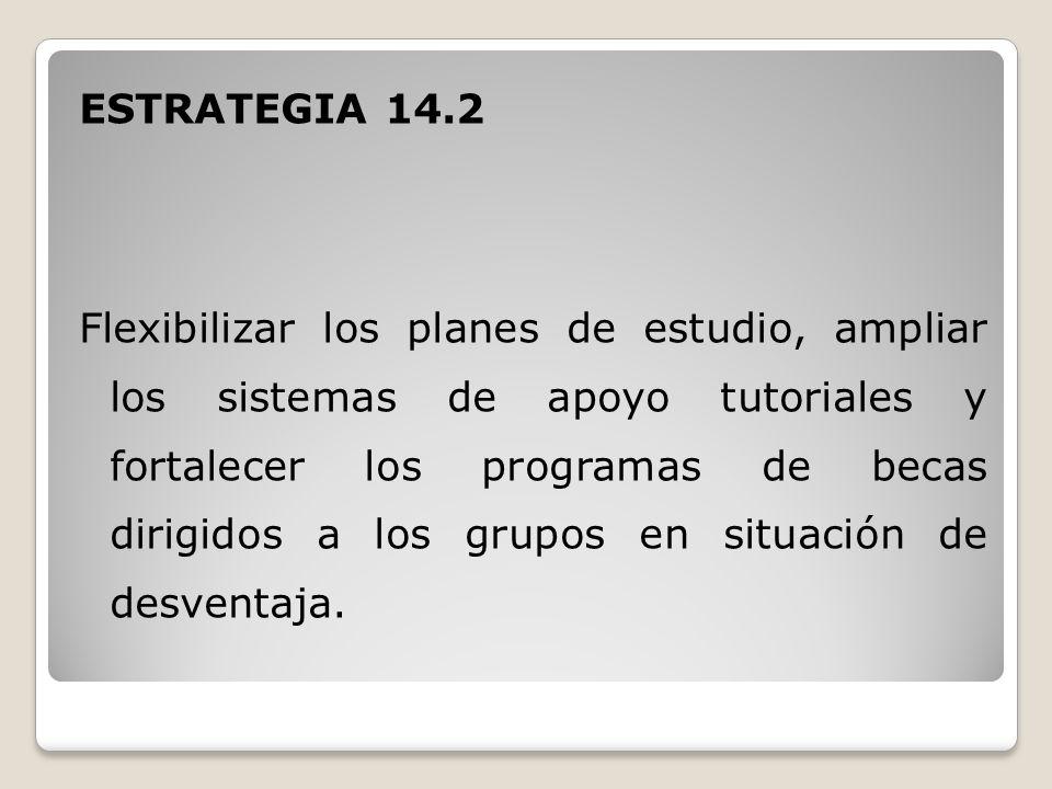 ESTRATEGIA 14.2 Flexibilizar los planes de estudio, ampliar los sistemas de apoyo tutoriales y fortalecer los programas de becas dirigidos a los grupos en situación de desventaja.