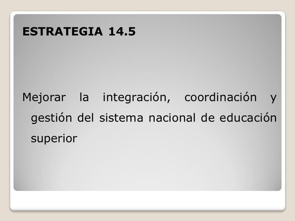 ESTRATEGIA 14.5 Mejorar la integración, coordinación y gestión del sistema nacional de educación superior