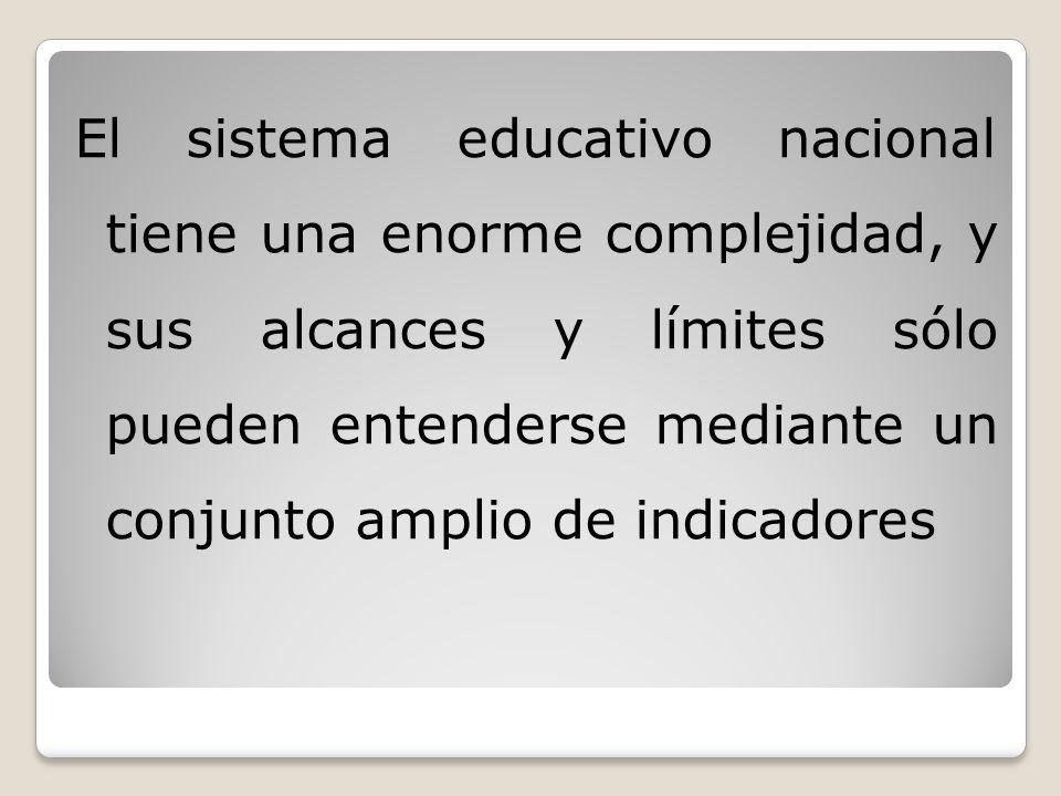 El sistema educativo nacional tiene una enorme complejidad, y sus alcances y límites sólo pueden entenderse mediante un conjunto amplio de indicadores