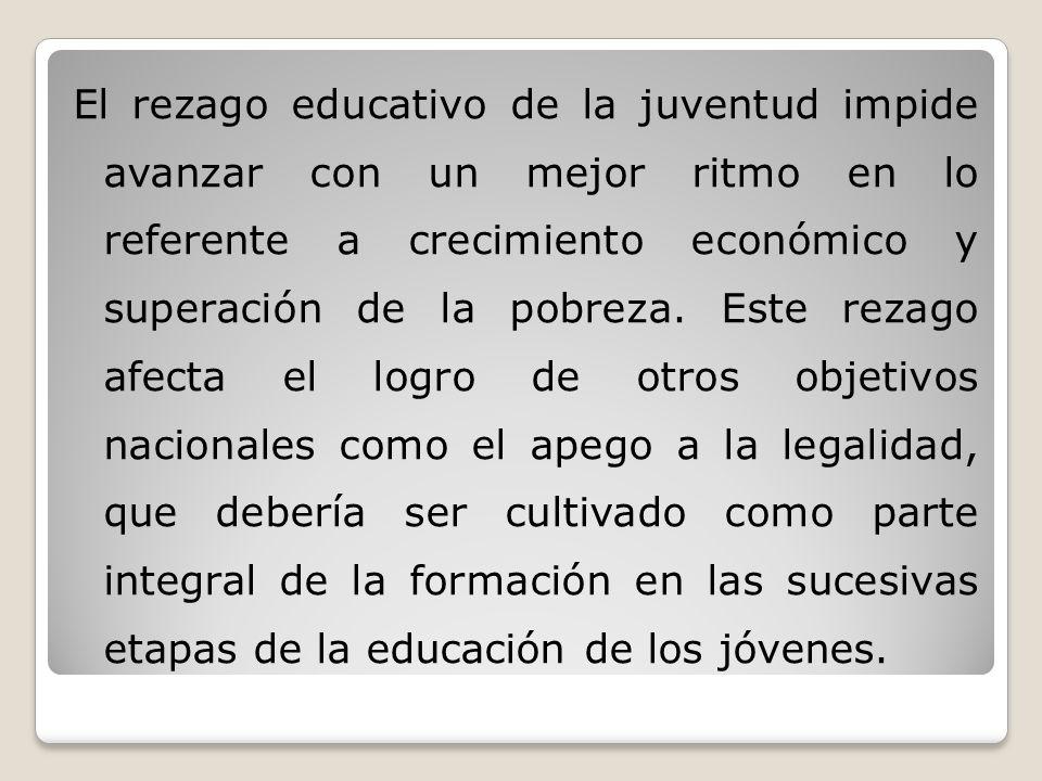 El rezago educativo de la juventud impide avanzar con un mejor ritmo en lo referente a crecimiento económico y superación de la pobreza.