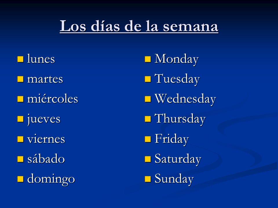 Los días de la semana lunes martes miércoles jueves viernes sábado