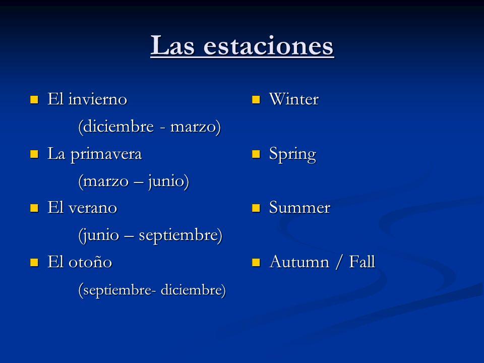 Las estaciones El invierno (diciembre - marzo) La primavera