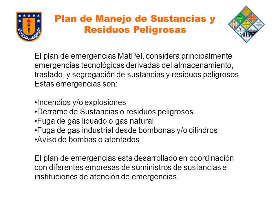 Plan de Manejo de Sustancias y Residuos Peligrosas