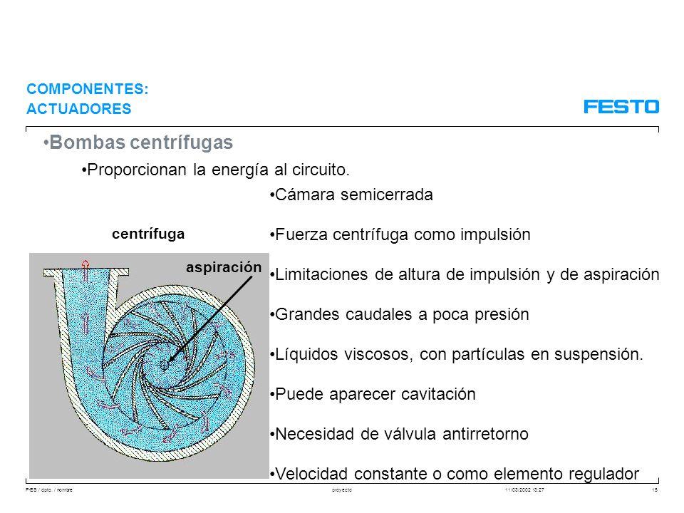 Bombas centrífugas Proporcionan la energía al circuito.
