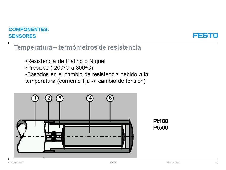 Temperatura – termómetros de resistencia