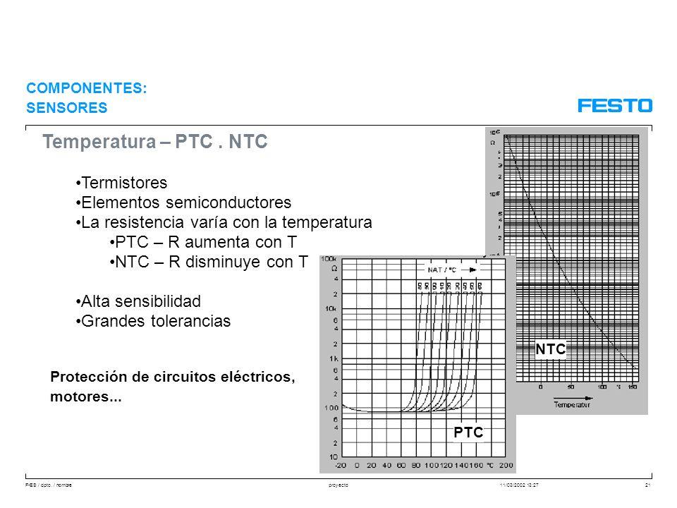 Temperatura – PTC . NTC Termistores Elementos semiconductores