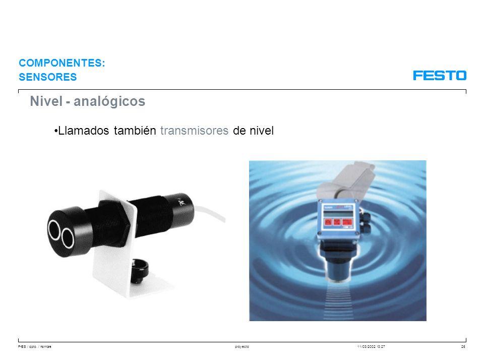 Nivel - analógicos Llamados también transmisores de nivel COMPONENTES: