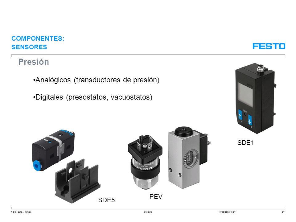Presión Analógicos (transductores de presión)