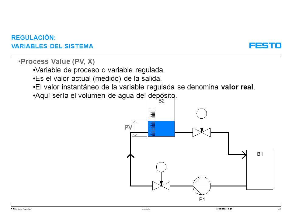Variable de proceso o variable regulada.