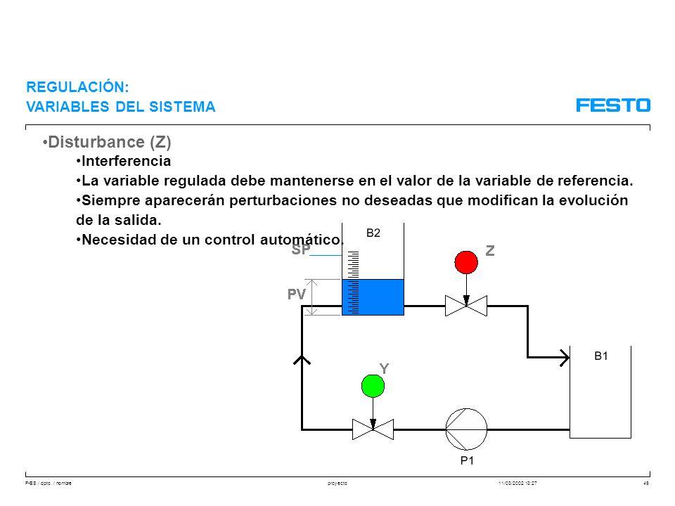 Disturbance (Z) REGULACIÓN: VARIABLES DEL SISTEMA Interferencia