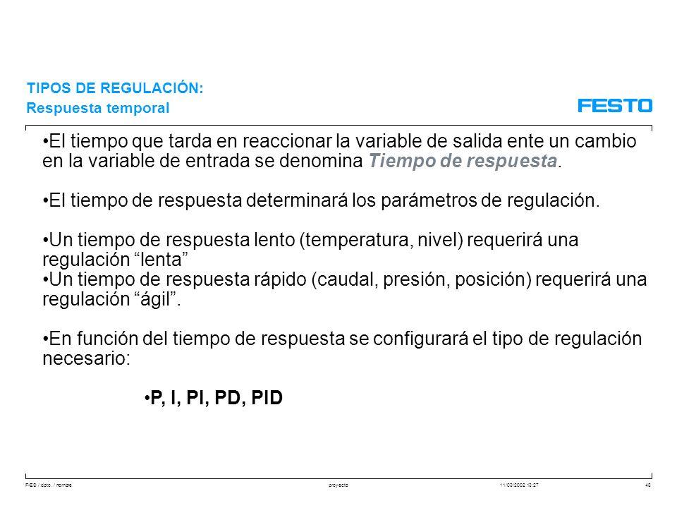 El tiempo de respuesta determinará los parámetros de regulación.