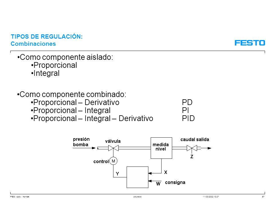 Como componente aislado: Proporcional Integral