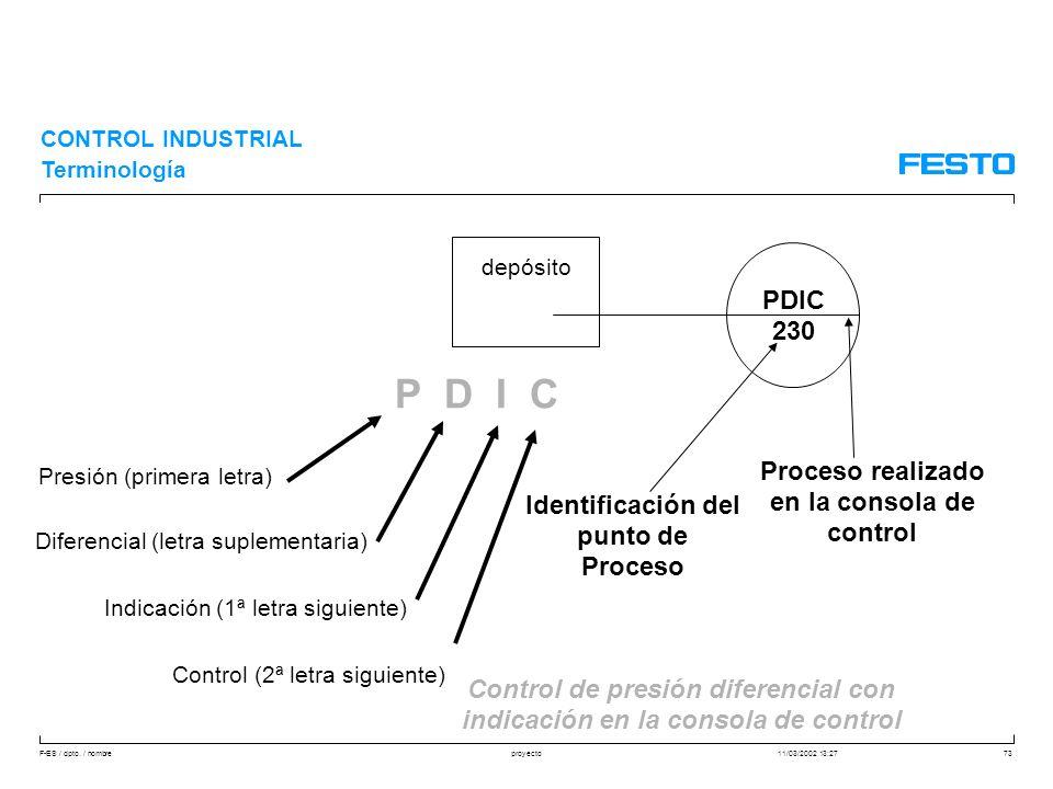 P D I C PDIC 230 Proceso realizado en la consola de control