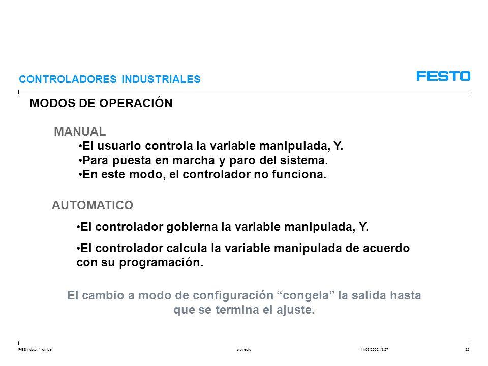 El usuario controla la variable manipulada, Y.