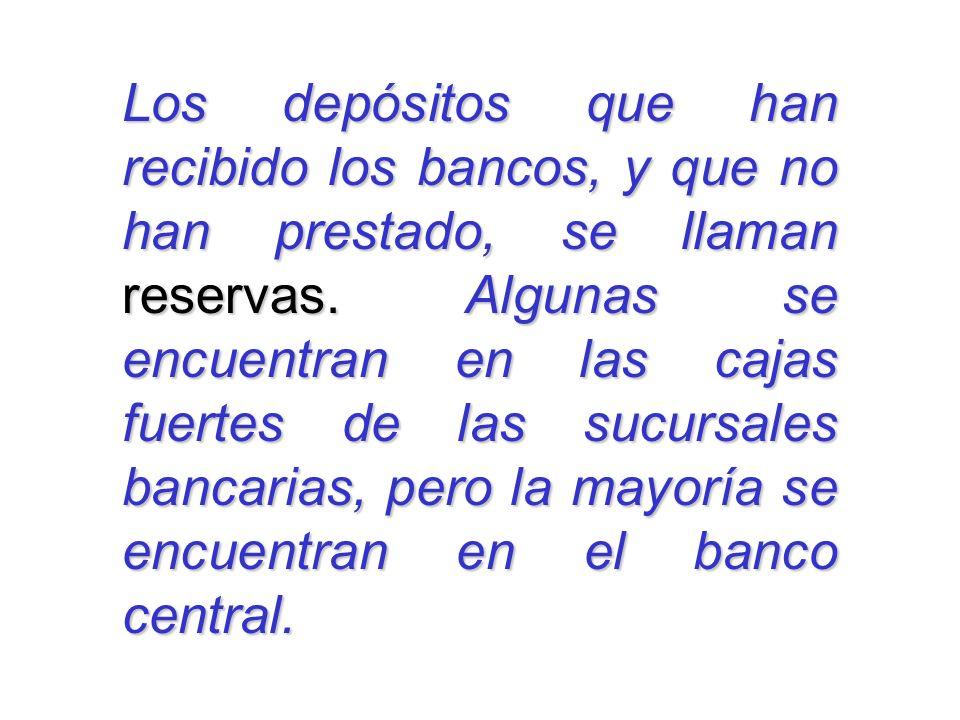 Los depósitos que han recibido los bancos, y que no han prestado, se llaman reservas.