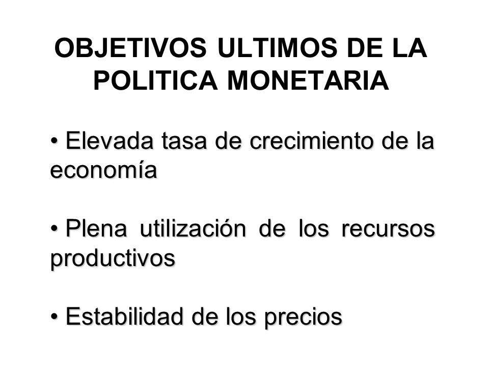 OBJETIVOS ULTIMOS DE LA POLITICA MONETARIA