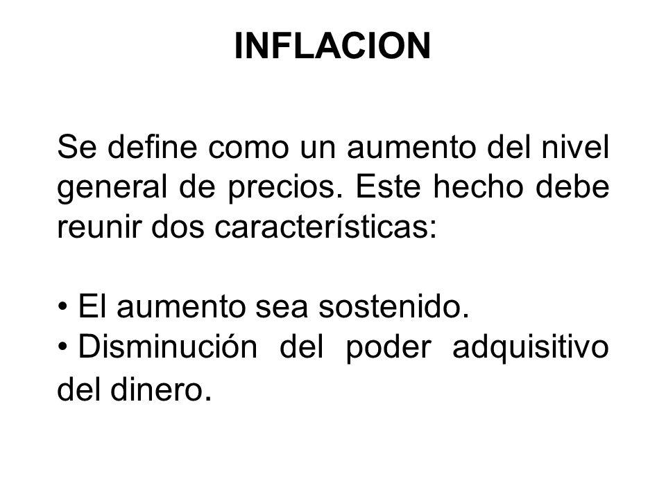 INFLACION Se define como un aumento del nivel general de precios. Este hecho debe reunir dos características: