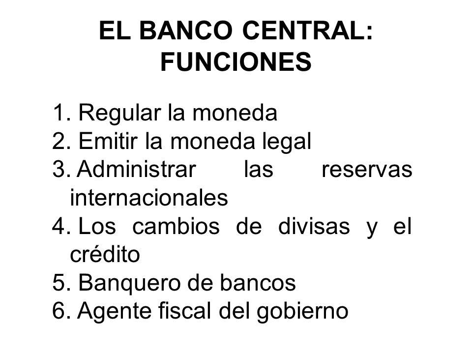EL BANCO CENTRAL: FUNCIONES