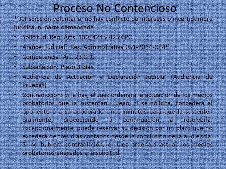 Proceso No Contencioso