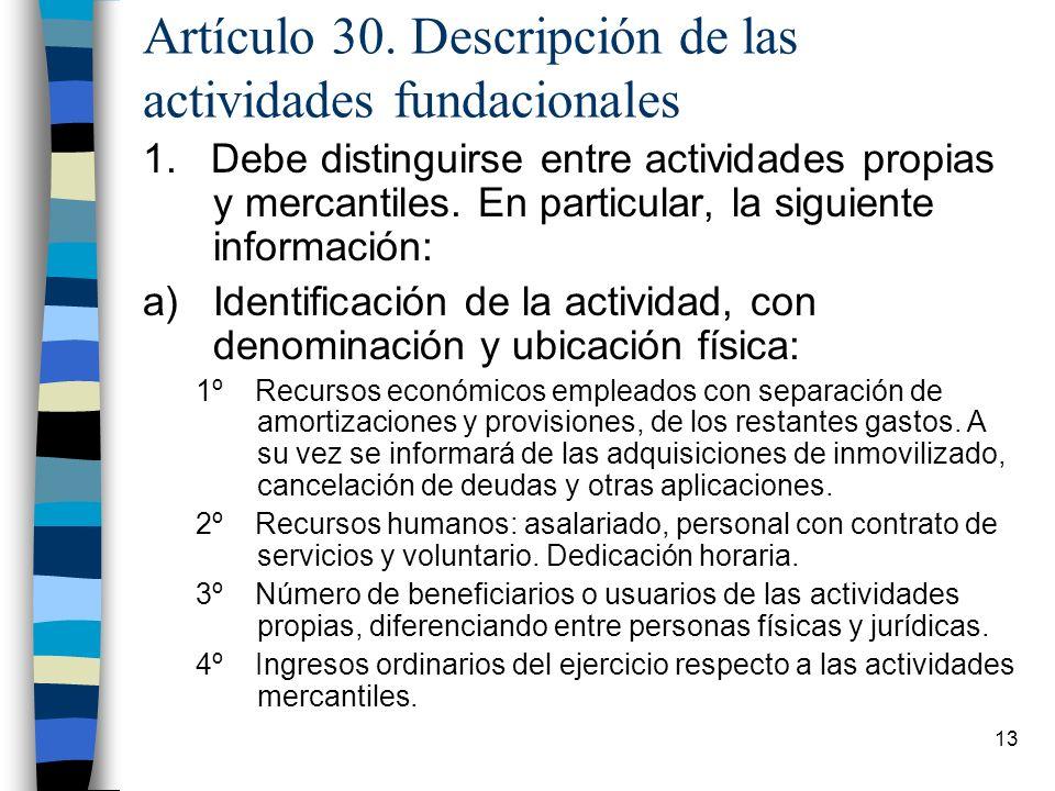 Artículo 30. Descripción de las actividades fundacionales