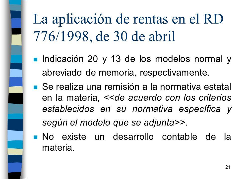 La aplicación de rentas en el RD 776/1998, de 30 de abril