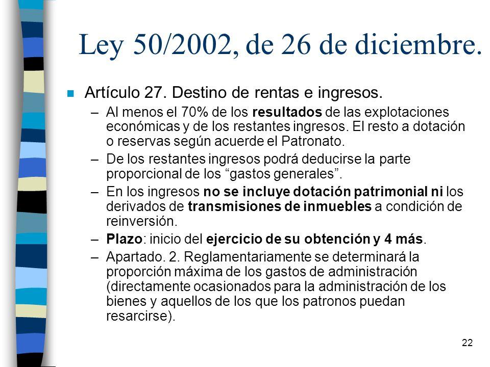 Ley 50/2002, de 26 de diciembre. Artículo 27. Destino de rentas e ingresos.