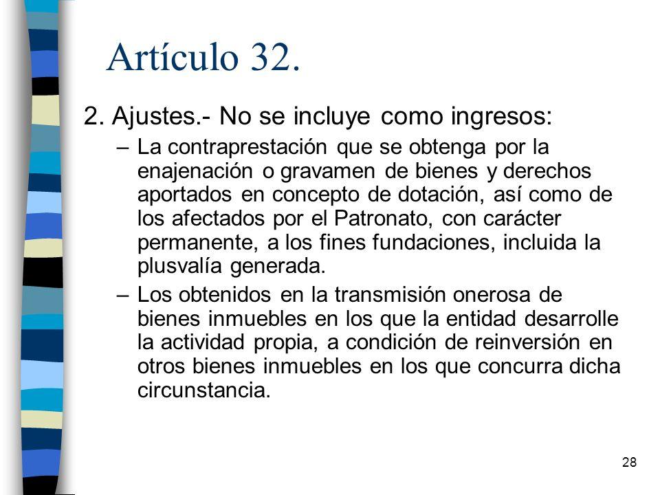 Artículo 32. 2. Ajustes.- No se incluye como ingresos: